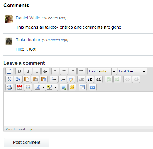 Extended editor for new comments.