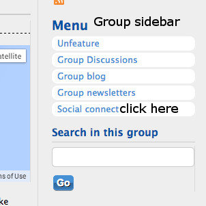 menu in group sidebar