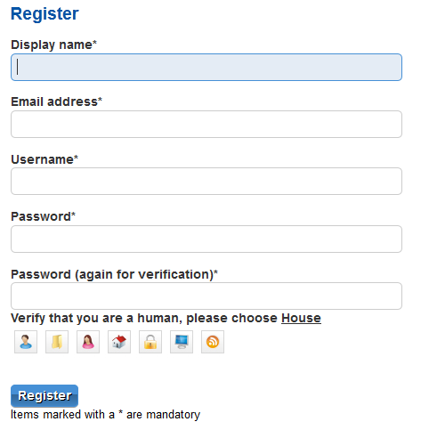 Example integration with registration form