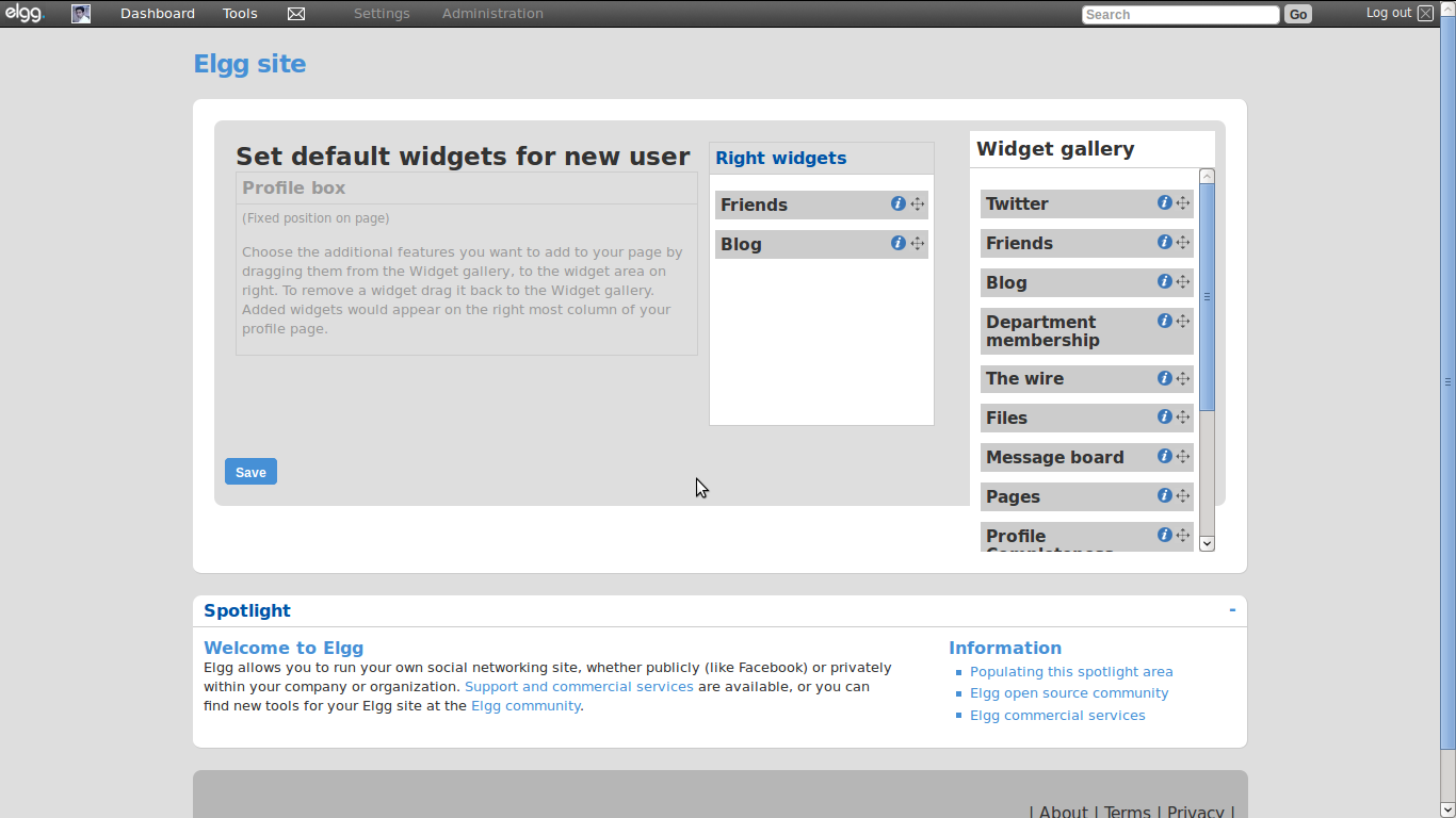 Admin default profile widgets