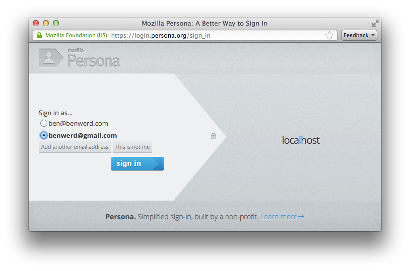 Mozilla Persona is nicely designed and easy to use.