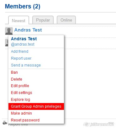 Elevate a user to group admin
