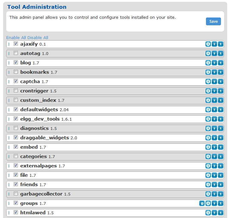 Tool administration panel with plugin_manager enabled