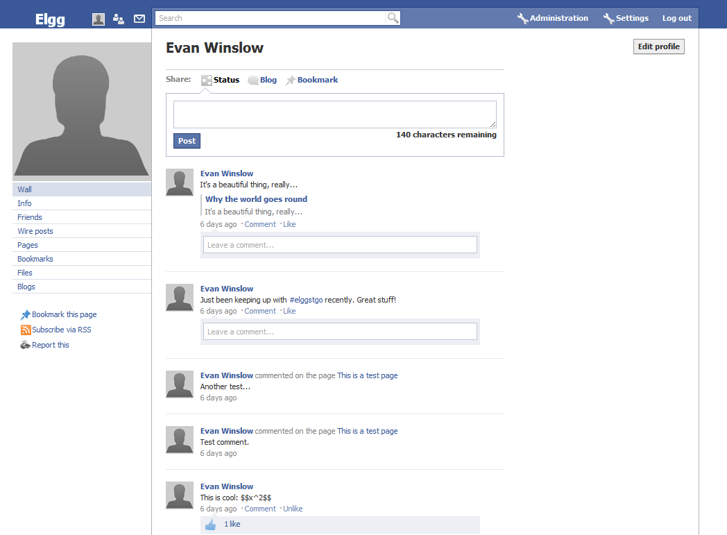 Blank Facebook Profile Information Page Facebook theme for elgg 18 uKfTC29n