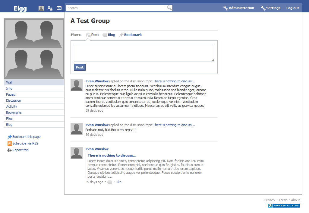 Group's wall (overrides group profile page)