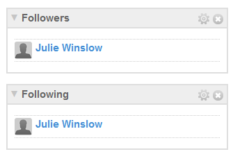 Followers/Following widgets