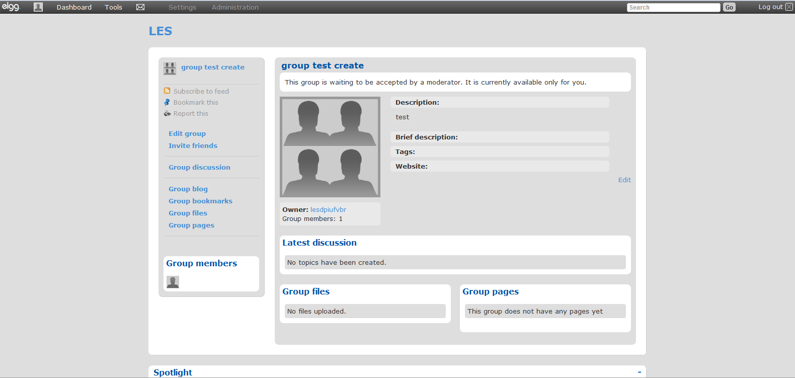 group waiting to be activated, user view