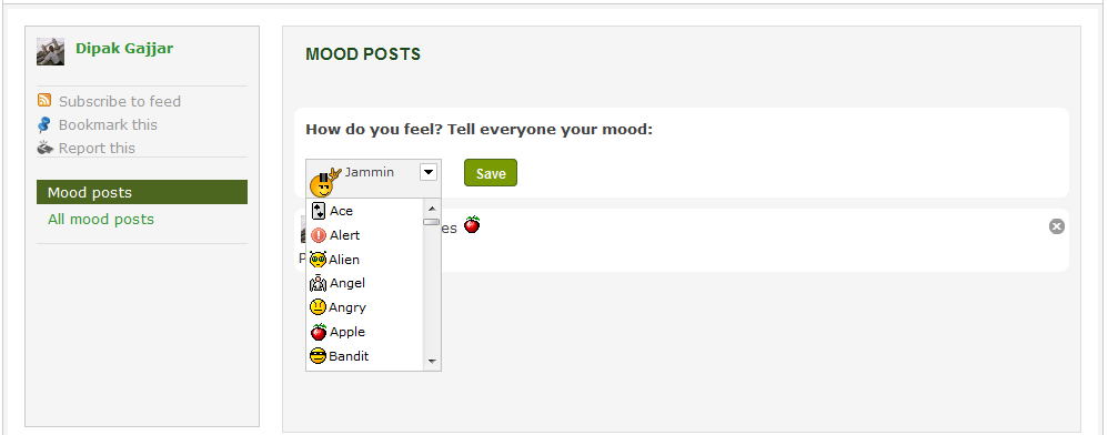 Mood posts with drop down
