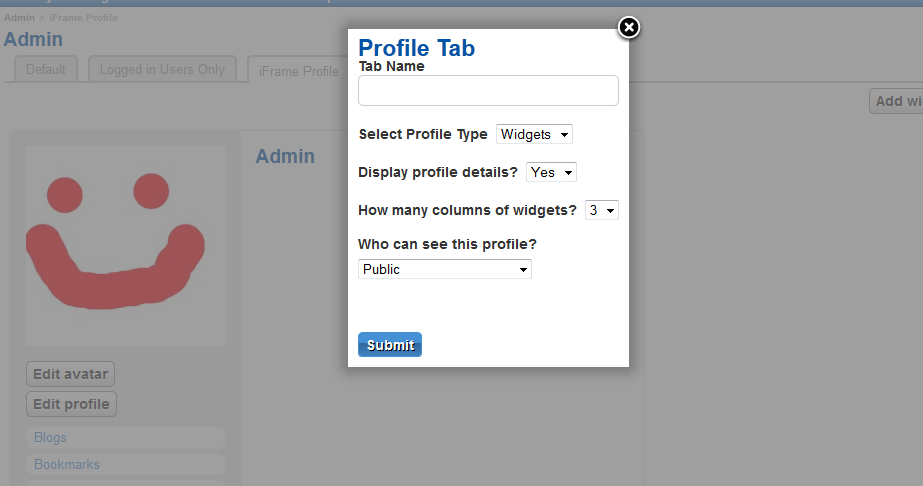 Form for adding a new tab