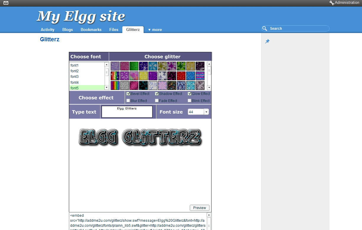 Glitterz for Elgg 1 8 and 1 7 : Elgg org