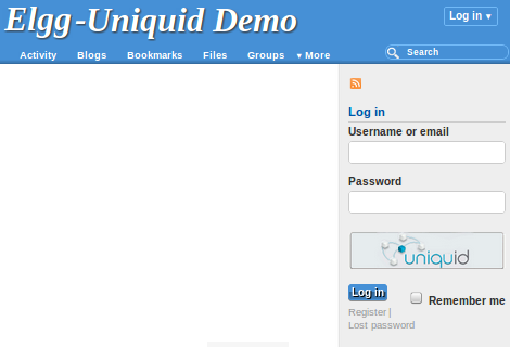 "Access Elgg and click on the ""Uniquid"" button"