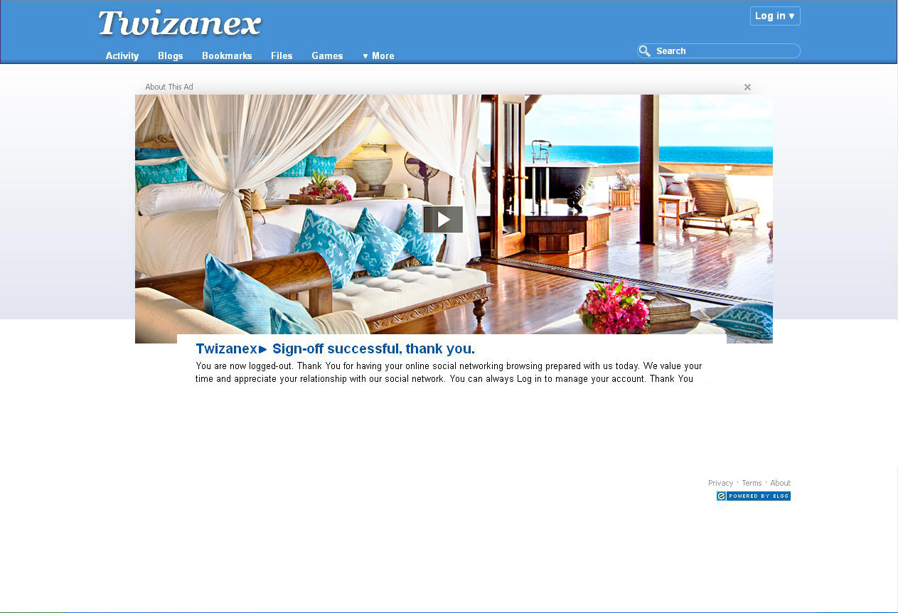 Twizanex logout page using the default theme for elgg 1.8