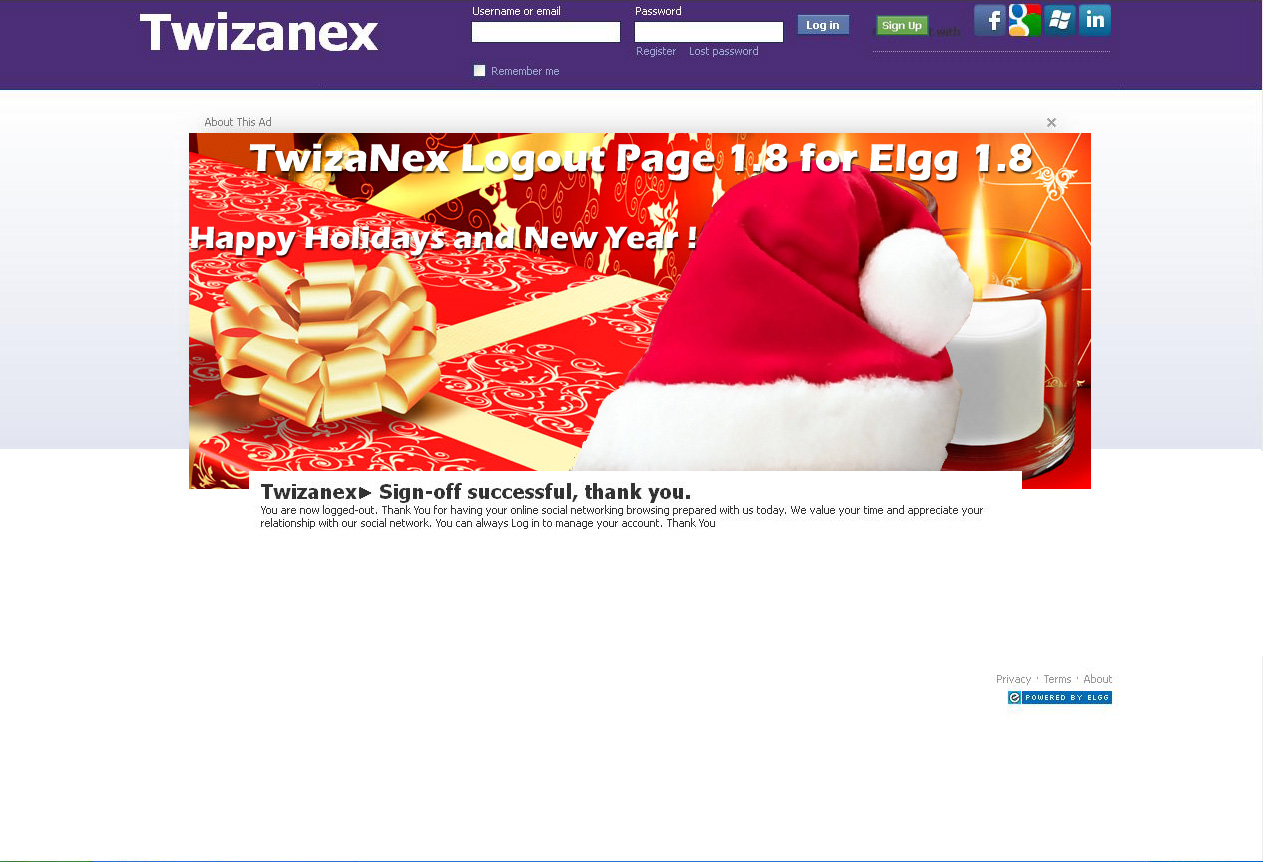 Twizanex logout page using facebook theme for elgg 1.8