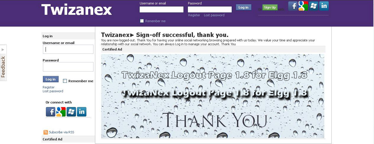Twizanex signoff page for elgg 1.8