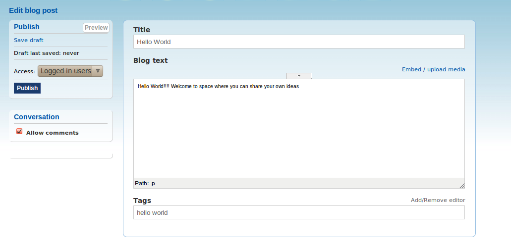 Blogs with TinyMCE toolbar closed