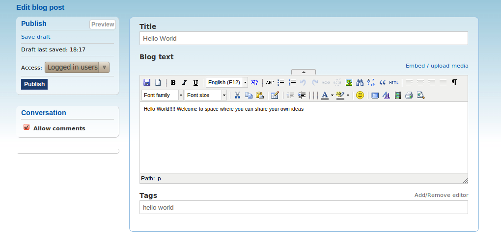 Blogs with TinyMCE toolbar open